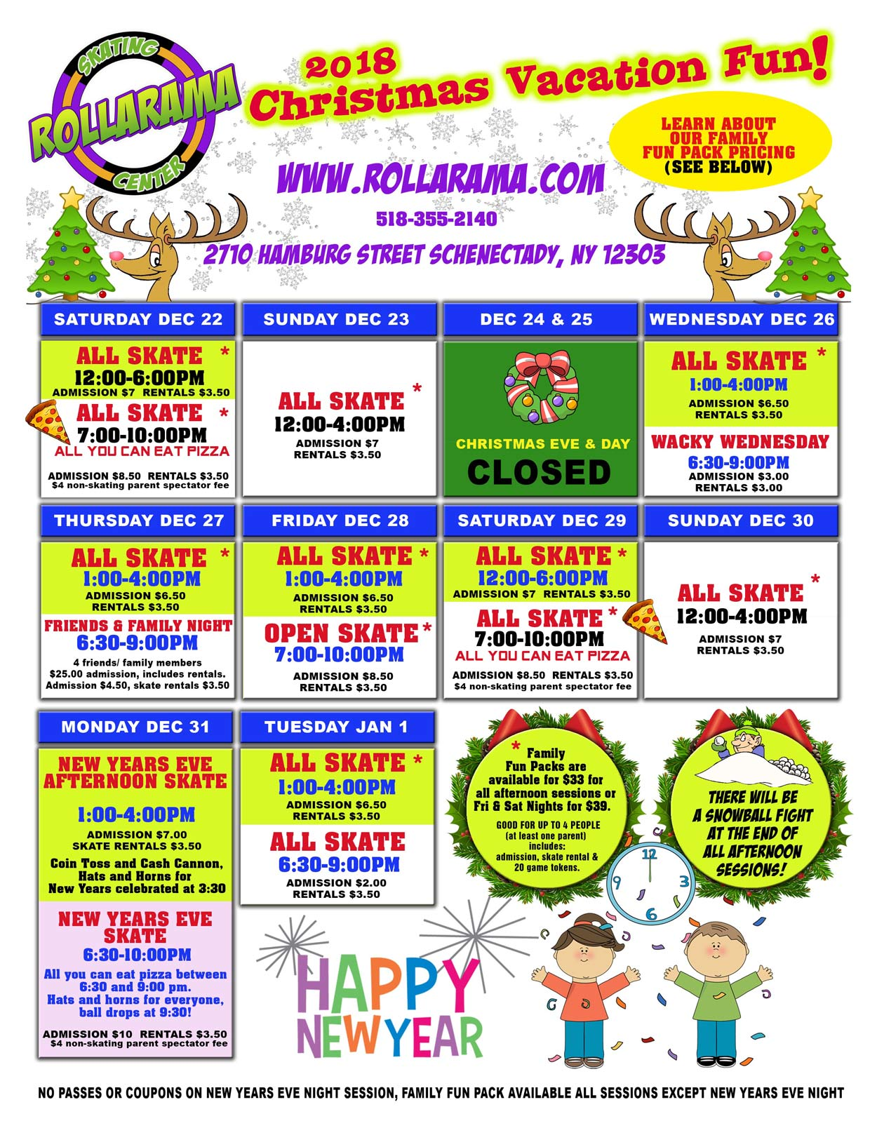 Rollarama Holiday Skate Schedule flyer