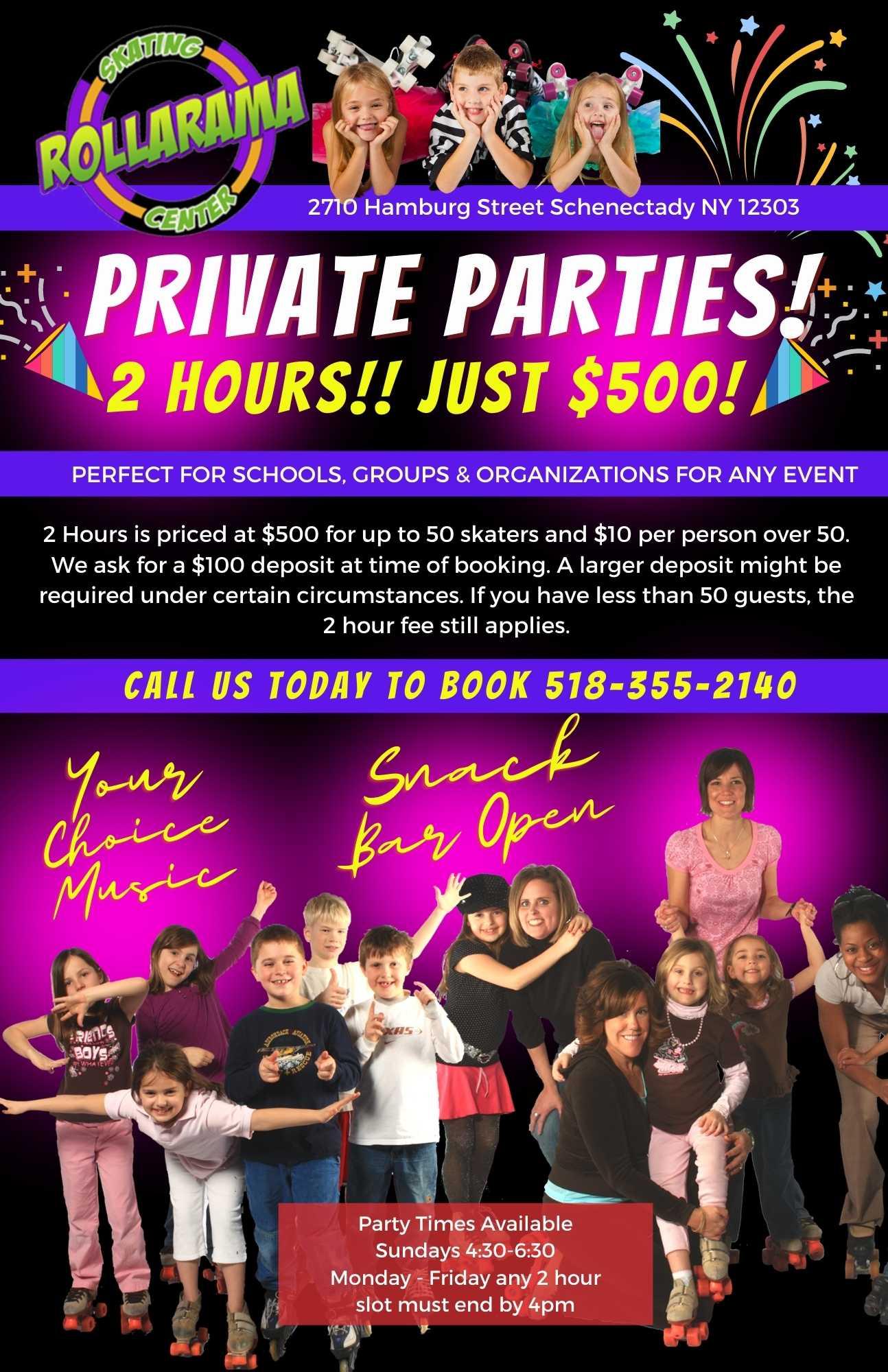 Private Parties Rollarama Skating Center