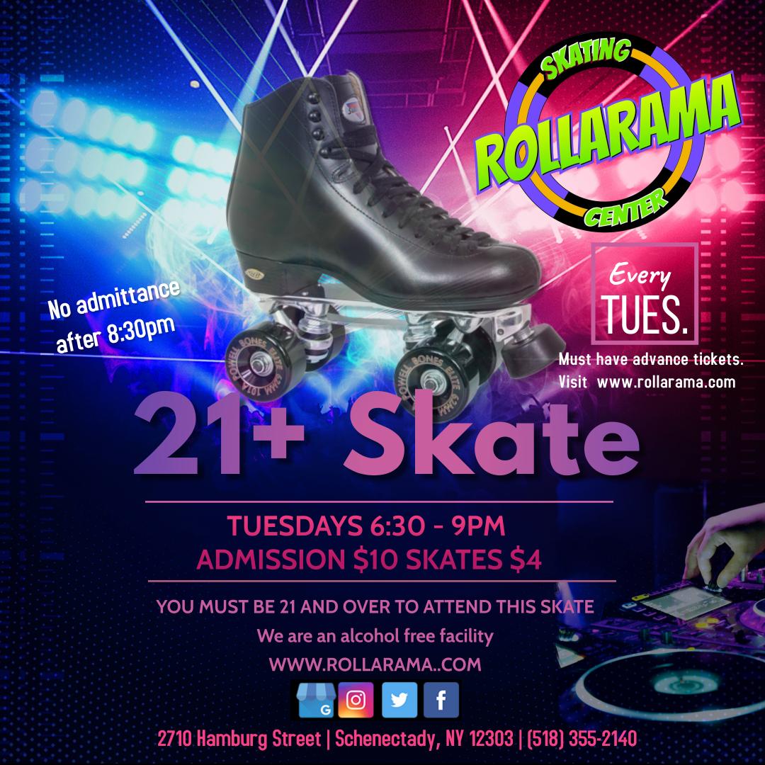 Rollarama Tuesday Night Adult Skate flyer