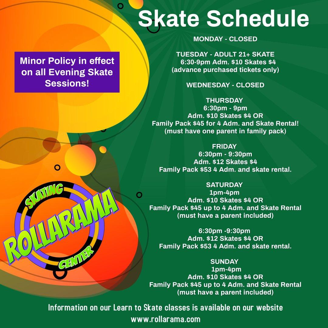 Rollarama Fall 2021 Hours flyer